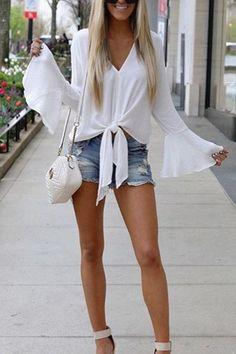 V Neck Plain Bell Sleeve blouse for women chic blouse for women chic casual blouse for women chic style blouse for women chic fashion designers blouse for women chic shirts Chic Summer Outfits, Summer Outfits Women, Fall Outfits, Casual Outfits, Cute Outfits, Dinner Outfits, Older Women Fashion, Curvy Fashion, Dress Fashion