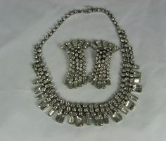 Vintage Rhinestone Necklace Earrings Set Silver by TheFashionDen, $90.00