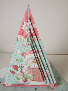 Pyramage Triangle Shaped Pink Snowman Christmas Card Handcrafted 3D Decoupage & Matching Envelope Special Christmas Cards Xmas Yule by TriskelionCards on Etsy