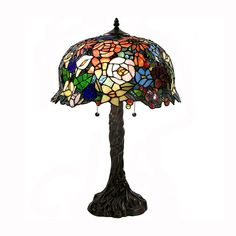 Warehouse of Tiffany 2106+BB548 2 Light Floral Accent Table Lamp, Bronze at ATG Stores