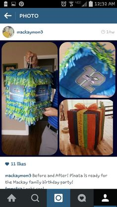 Boring pinata-turned awesome-seahawk-pride-blue and green