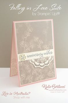 Falling In Love Suite by Stampin' Up! Wedding Anniversary Cards, Happy Anniversary, Anniversary Photos, Wedding Shower Cards, Wedding Cards, Happy Birthday Cards, Happy Birthdays, Birthday Greetings, Birthday Wishes