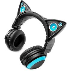 Brookstone Cat Ears Headphones ($100) ❤ liked on Polyvore featuring accessories, tech accessories, music, blue, brookstone, cat ear headphones, colorful headphones and blue headphones