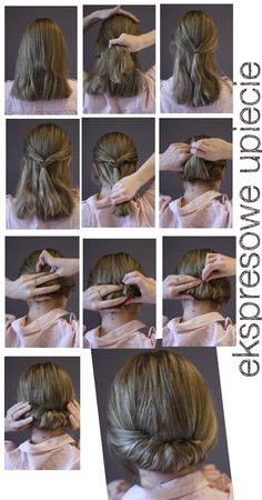 This is one way to create the Gibson Tuck. Best for hair between BSL (Bra Strap Length) and mid back. - My hair is currently bra strap length Gibson Tuck, Gibson Roll, Work Hairstyles, Pretty Hairstyles, Mid Length Hair, Pinterest Hair, Bad Hair, Up Girl, Hair Today