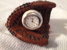 Elgin Quartz Mini Baseball In A Baseball Glove Clock: