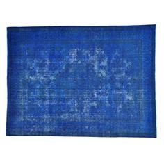 "1800getarug Handmade Overdyed Worn Down Persian Tabriz Oriental Area Rug (9'7 x 12'9) (Exact Size: 9'7"" x 12'9""), Blue Denim, Size 10' x 12'"