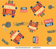 Seamless kids fire truck illustration background pattern in vector - stock vector