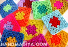 Яркий вязаный плед из квадратов. Knit crochet plaid.