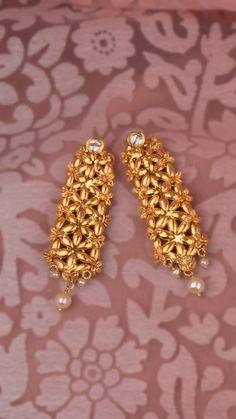 AZVA polki and gold reversible earrings