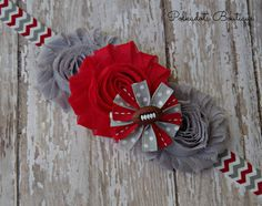 Ohio State Inspired Baby Headband Red and by polkadotsboutique