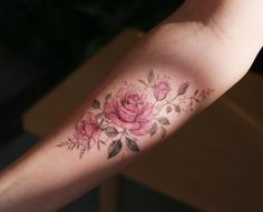 Flower Tattoo by 타투이스트. 타투이스트 꽃 artist works on women's tattoos and works exclusively for women. For More Details View Website Make Tattoo, S Tattoo, Tattoo Drawings, Sleeve Tattoos, Colorful Flower Tattoo, Flower Tattoo Designs, Flower Tattoos, Pastel Flowers, Colorful Flowers