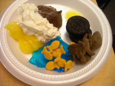 Creation Snack Day 1 - van and choc pudding Day 2 - blue jello and whipped cream Day 3 - Oreos Day 4 -Star Sprinkles Day 5 - Goldfish crackers Day 6 - Animal Crackers