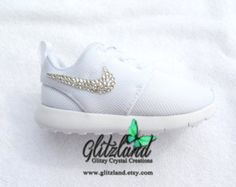 Swarovski Nike White Baby / Toddler Nike Roshe Run Shoes  Blinged w/ Swarovski Crystals