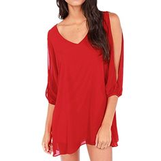 Generic Chiffon Women Off Shoulder Vneck Aline Mini Strapless Loose Casual Dress HSD135XLarge Red *** Check out this great product.