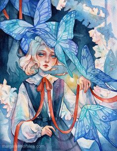 """'Shadow Play' 💙 My newest piece for our """"Nightmares vs Tea Time"""" auction tomorrow! Doesn't she remind you of old bedtime stories? Watercolor Illustration, Watercolor Paintings, Art Sketches, Art Drawings, Aesthetic Art, Japanese Art, Cartoon Art, Cute Art, Art Inspo"""