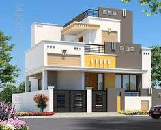 Found on Bing from property. House Front Wall Design, House Balcony Design, House Outer Design, Single Floor House Design, Village House Design, Duplex House Design, Kerala House Design, Small House Design, Front Design