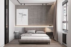 Скандинавский функционализм on Behance Dream Bedroom, Home Bedroom, Modern Bedroom, Master Bedroom, Bedroom Decor, Bedrooms, Flat Interior, Home Interior, Hotel Room Design