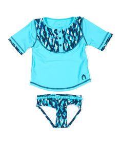 Take a look at this Aqua Ikat Blues Rashguard Set - Infant, Toddler & Girls on zulily today!