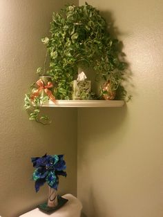 Small bathroom decor.  Shelves from Lowe's.  Silk poinsettia from Michaels.