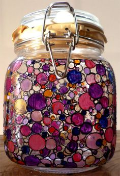 Designer Hand Painted Persian Dotty storage Jar by HandPaintedJar on Etsy