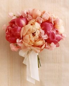 Boquets. white & peach would be better