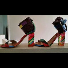 Valentino Plexiglas Heeled Sandals AUTHENTIC VALENTINO CHEVRON-PRINTED RAINBOW SANDALS. I have sizes EUR 37 and EUR 38.5 available. There is a separate listing for the 37. They are brand new in the box. The heel is 100mm= 4 inches. If needed I will provide copy of receipt with purchase minus my pymt info. THIS LISTING IS FOR THE EUR 38.5 ONLY!  Valentino Shoes Sandals