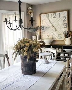 Find more about farmhouse dining style joanna gaines, french country, small Country Farmhouse Decor, Farmhouse Style Decorating, Farmhouse Chic, French Country Decorating, Farmhouse Design, Farmhouse Table, Rustic Decor, Vintage Farmhouse, Vintage Decor