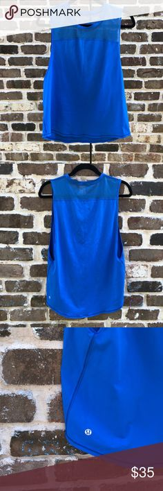 Lululemon cobalt blue muscle tee This is such a great top!  In perfect condition. I believe the fabric is the luxtreme fabric but my lululemon fanatics can probably tell me for sure!   There is not a size dot or rip tag but it was a size 8.  I also have this same top in a lilac so check out my closet!   Deep cut armhole that I find not only flattering but workout functional! lululemon athletica Tops Muscle Tees