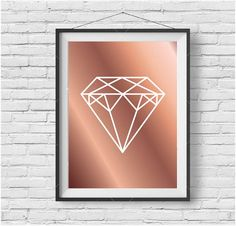 Faux Rose Gold Print, Copper Print, Copper Printable Art, Diamond Print, Geometric Diamond Art, Rose Gold Home Decor, Digital Download
