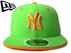 """【ニューエラ】【NEW ERA】59FIFTY キッズサイズ NEW YORK YANKEES """"NY"""" ライムグリーンXオレンジ【CAP】【newera】【帽子】【ニューヨーク】【KID'S SIZE】【子供用】【黒】【黄緑】【NY】【ヤンキース】【ボーイズ】【ガールズ】【kids】【youth】【あす楽】【楽天市場】"""