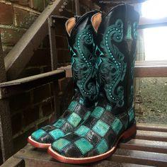 Ferrini Women's Black/Teal Patchwork Square Toe Boots Sharp! 8139350070