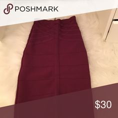 Fuschia Bebe midi bandage skirt W/ matching crop top bebe Skirts Midi