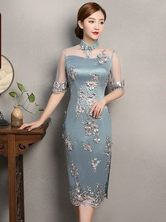 Essence of Chic Embroidered Midi Qipao / Cheongsam Party Dress