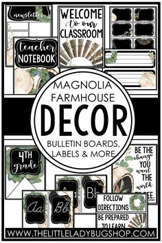 Get ready for back to school with the Magnolia Farmhouse decor theme! This editable set is beautifully unique and has everything you need to decorate your classroom with a rustic, cohesive look. The perfect DIY bundle for any elementary classroom, including posters, name plates, alphabet posters, teacher notebook, organization labels, bulletin board decor, and more! #thelittleladybugshop
