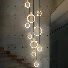 Modern minimalist circle acrylic LED pendant lamp DIY home deco living room novelty solid wood ring pendant lighting fixture. Cheap Chandelier, Chandelier For Sale, Art Deco Chandelier, Modern Chandelier, Chandelier Lighting, Chandelier Staircase, Chandeliers, Chandelier Ideas, Modern Lamps