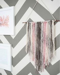 grey, pink, white yarn tapestry