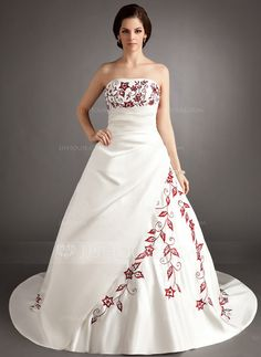 Wedding Dresses - $198.99 - A-Line/Princess Strapless Chapel Train Satin Wedding Dress With Embroidery Ruffle Beadwork (002004536) http://jjshouse.com/A-Line-Princess-Strapless-Chapel-Train-Satin-Wedding-Dress-With-Embroidery-Ruffle-Beadwork-002004536-g4536