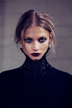 Dark lips 52495151883470406 - Anna Selezneva Gets Gothic in For Love & Lemons Fall 2013 Ads Dark Beauty, Beauty Make-up, Beauty Ideas, Beauty Skin, High Fashion Makeup, Ad Fashion, Trendy Fashion, Witch Fashion, Paper Fashion