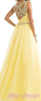 Evening Dresses Modest Prom Dress With Beaded Straps Backless Chiffon Yellow Formal Gown For Teens · meetdresses · Online Store Powered by Storenvy