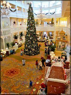 Disney's Grand Floridian Resort lobby at Christmas--of the best smells in all of Walt Disney World. http://1923mainstreet.com/blog/unique-smells-walt-disney-world/