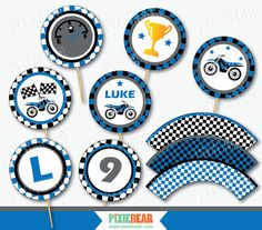 Motocross party cupcake toppers and wrappers for a Motorcycle birthday party in Blue! INSTANT DOWNLOAD - edit and print at home. * * YOU CAN EDIT THE TEXTS YOURSELF! * * Add your child's Name, Age & Initial! Personalize by yourself and print at home - No waiting! :) Matching Motocross Party Invitations: https://www.etsy.com/listing/250777001 Full Dirt Bike Birthday Package: https://www.etsy.com/listing/251439573 More Motorcycle party decorations...