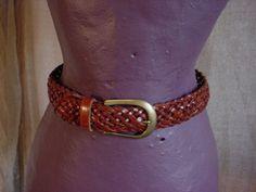 Dockers Leather Belt Brown Small Celtic Weave w Solid Brass Buckle Renaissance  #Dockers Seller florasgarden on ebay
