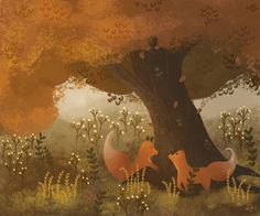 One more for the day 🙂 I still do not know who these foxes are but that is my next goal 🍃🌱 #digitalart #illustration #art_helpers #artistofinstagram #artwork_fever #childrensbook #kidlit #photoshop #landscape #conceptart #speedpaint #forest #tree #school #autumn #fall #foxes #doodleoftheday #doodle