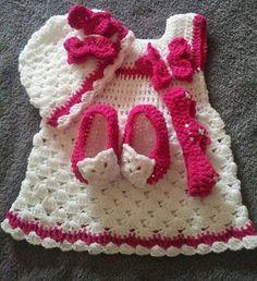 crochet baby dress/crochet white and pink dress/white christening dress/one year old dress