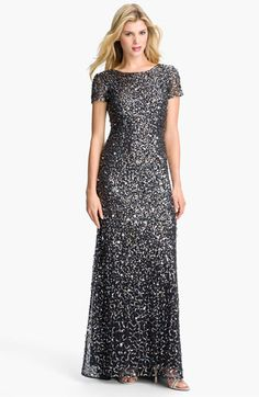 Adrianna Papell Short Sleeve Sequin Mesh Gown available at Nordstrom - in regular and petite sizes