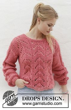 Knitted jumper with lace pattern. Sizes S – XXXL. The piece is worked in 2 stran… Knitted jumper with lace pattern. Sizes S – XXXL. The piece is worked in 2 strands DROPS Air or you can use 2 strands DROPS Brushed Alpaca Silk. Jumper Patterns, Lace Patterns, Knitting Patterns Free, Crochet Patterns, Drops Design, Lace Knitting, Knit Crochet, Jumpers For Women, Sweaters For Women