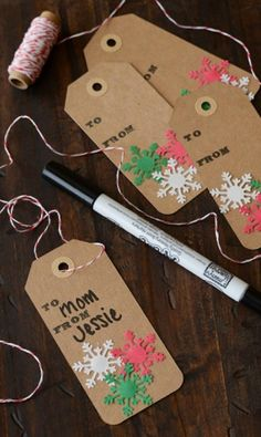 These DIY snowflake holiday tags are the perfect addition to your gifts.