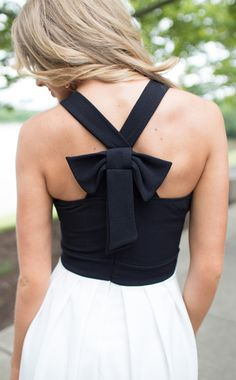 Back Ribbon Dress with Jeweled Neckline