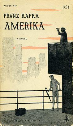 Amerika by Franz Kafka, cover illustration by Edward Gorey published 1955 Best Book Covers, Vintage Book Covers, Beautiful Book Covers, Book Cover Art, Book Cover Design, Vintage Books, Book Design, Book Art, Vintage Ideas
