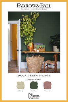 Strong but subdued, Duck Green offers a contemporary alternative to charcoal shades for modern homes, and makes a warm and welcoming scheme when combined with Ash Grey and Crimson Red. Farrow Ball, Farrow And Ball Paint, Hm Home, Living Room Green, Ash Grey, Colour Schemes, Decoration, House Colors, New Homes